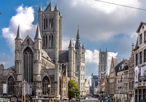 Three towers (Belfry, Cathedral of Saint-Bavo, Church of Saint-Nicolas) in Ghent, Belgium