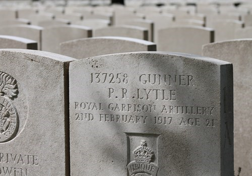 Thombstone of a fallen soldier on a cemetry near Ypres